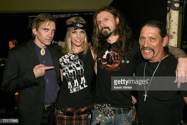 Actors Bill Moseley Sheri Moon Zombie director Rob Zombie and Danny Trejo pose backstage at the fuse Fangoria Chainsaw Awards at the Orpheum Theater...