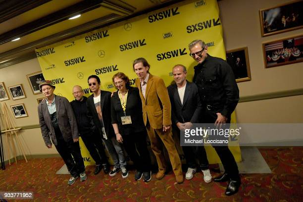 Actors Bill Murray Bob Balaban and Kunichi Nomura SXSW director of film Janet Pierson writer and director Wes Anderson producer Jeremy Dawson and...