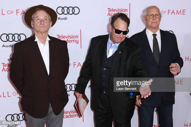 Actors Bill Murray Dan Aykroyd and Chevy Chase attends the Television Academy's 24th Hall Of Fame Ceremony at Saban Media Center on November 15 2017...