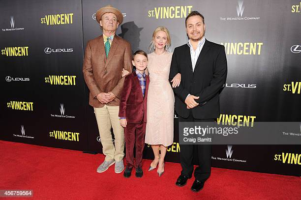 Actors Bill Murray Jaeden Lieberher and Naomi Watts and filmmaker Theodore Melfi attend the premiere of ST VINCENT hosted by the Weinstein Company...