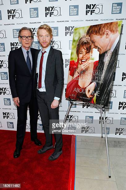 Actors Bill Nighy and Domhnall Gleeson attend the About Time premiere during the 51st New York Film Festival at Alice Tully Hall at Lincoln Center on...