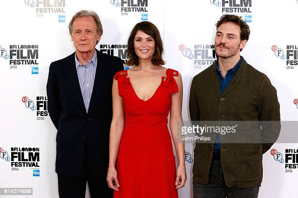 Actors Bill Nighy Gemma Arterton and Sam Claflin attend 'Their Finest' photocall during the 60th BFI London Film Festival at The Mayfair Hotel on...