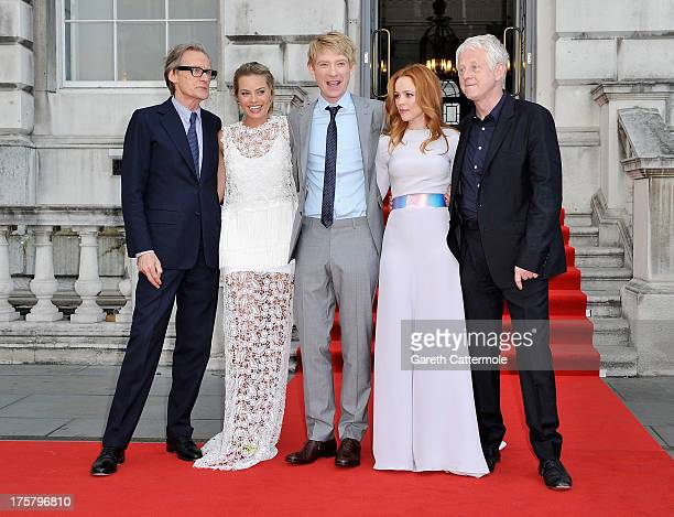 Actors Bill Nighy Margot Robbie Domhnall Gleeson Rachel McAdams and director Richard Curtis attend the About Time world premiere at Somerset House on...