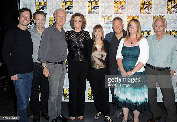 Actors Bill Paxton and Michael Biehn director James Cameron actress Sigourney Weaver producer Gale Anne Hurd actors Paul Reiser Carrie Henn and Lance...