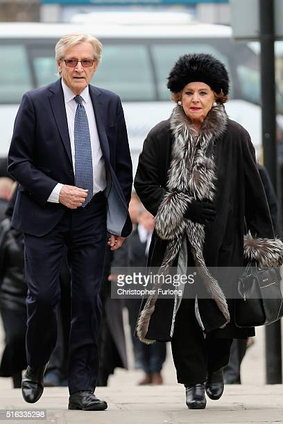 Actors Bill Roache Barbara Knox arrive for the funeral of Coronation Street scriptwriter Tony Warren at Manchester Cathedral on March 18 2016 in...