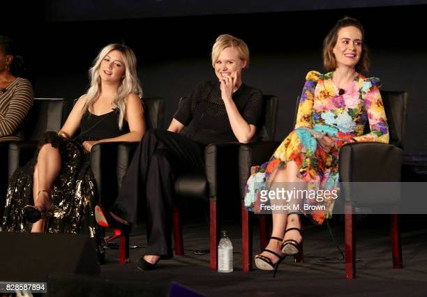 Actors Billie Lourd Alison Pill and Sarah Paulson of 'American Horror Story Cult' speak onstage during the FX portion of the 2017 Summer Television...