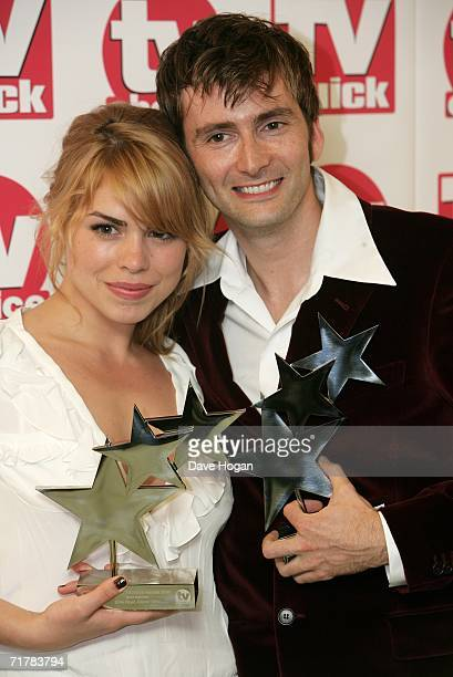 Actors Billie Piper and David Tennant pose with their awards for Best Actresss and Best Actor for their roles in Doctor Who at the TV Quick and TV...