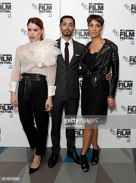Actors Billie Piper Riz Ahmed and Cush Jumbo attend the 'City Of Tiny Lights' screening in association with Mobo Films during the 60th BFI London...