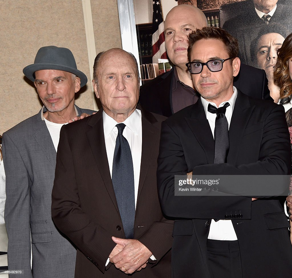 Actors Billy Bob Thornton, Robert Duvall, Vincent D'Onofrio and executive producer/actor Robert Downey Jr. attend the Premiere of Warner Bros. Pictures and Village Roadshow Pictures' 'The Judge' at AMPAS Samuel Goldwyn Theater on October 1, 2014 in Beverly Hills, California.