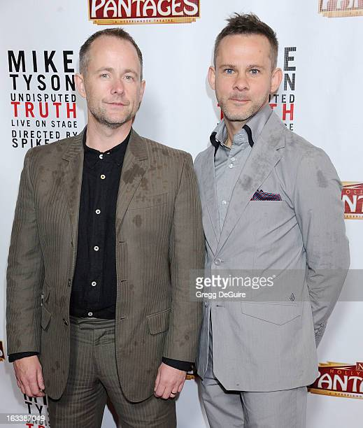 Actors Billy Boyd and Dominic Monaghan arrive at the Los Angeles opening night of Mike Tyson Undisputed Truth at the Pantages Theatre on March 8 2013...