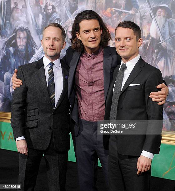 Actors Billy Boyd Orlando Bloom and Elijah Wood arrive at the Los Angeles premiere of 'The Hobbit The Battle Of The Five Armies' at Dolby Theatre on...
