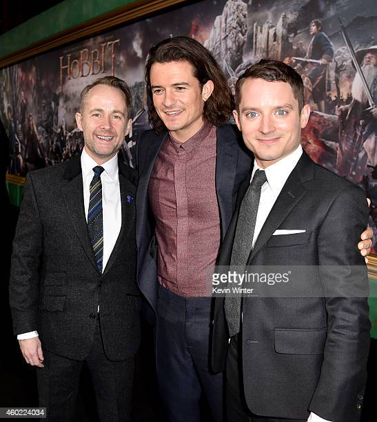 Actors Billy Boyd Orlando Bloom and Elijah Wood attend the premiere of New Line Cinema MGM Pictures and Warner Bros Pictures' The Hobbit The Battle...