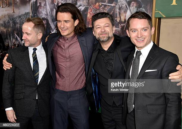 Actors Billy Boyd Orlando Bloom Andy Serkis and Elijah Wood attend the premiere of New Line Cinema MGM Pictures and Warner Bros Pictures' The Hobbit...