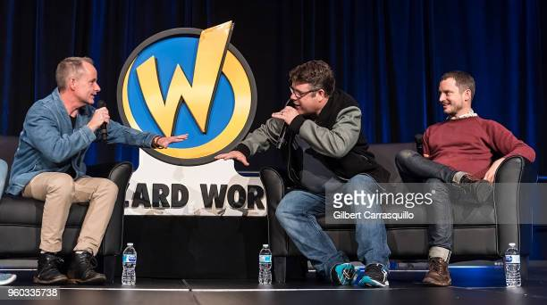 Actors Billy Boyd Sean Astin and Elijah Wood attend the 2018 Wizard World Comic Con at Pennsylvania Convention Center on May 19 2018 in Philadelphia...