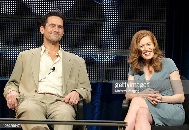 Actors Billy Campbell and Mireille Enos of show The Killing attend the AMC Winter 2011 TCA Panel at the Langham Hotel on January 7 2011 in Pasadena...