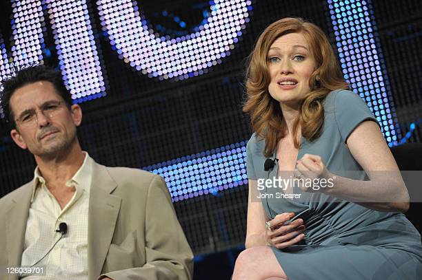 Actors Billy Campbell and Mireille Enos speak on The Killing AMC TCA Panel at the Langham Hotel on January 7 2011 in Pasadena California
