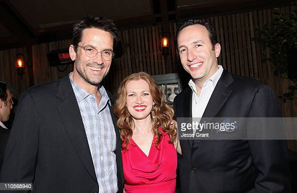 Actors Billy Campbell Mireille Enos and AMC President Charlie Collier attend AMC's The Killing Premiere at Harmony Gold Theatre on March 21 2011 in...
