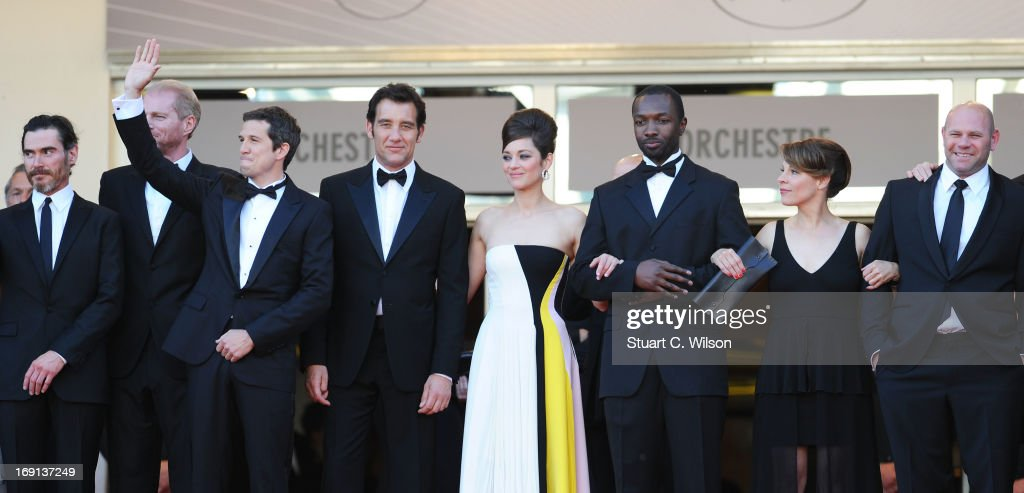 Actors Billy Crudup and Noah Emmerich, director Guillaume Canet, actors Clive Owen, Marion Cotillard, Jamie Hector, Lily Taylor and Domenick Lombardozzi attend the 'Blood Ties' Premiere during the 66th Annual Cannes Film Festival at the Palais des Festivals on May 20, 2013 in Cannes, France.