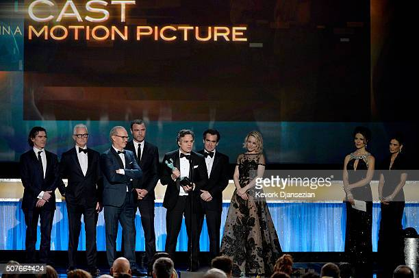 Actors Billy Crudup John Slattery Michael Keaton Liev Schreiber Mark Ruffalo Brian d'Arcy James and Rachel McAdams accept Outstanding Performance by...