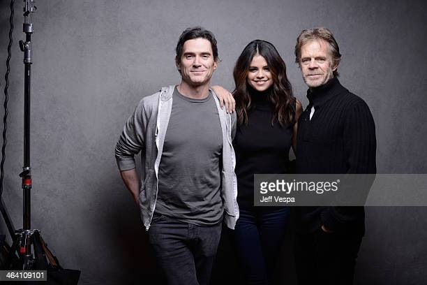 Actors Billy Crudup Selena Gomez and William H Macy pose for a portrait during the 2014 Sundance Film Festival at the WireImage Portrait Studio at...