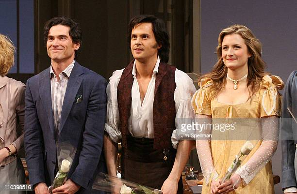 Actors Billy Crudup Tom Riley and Grace Gummer attend the opening night of 'Arcadia' on Broadway at the Ethel Barrymore Theatre on March 17 2011 in...