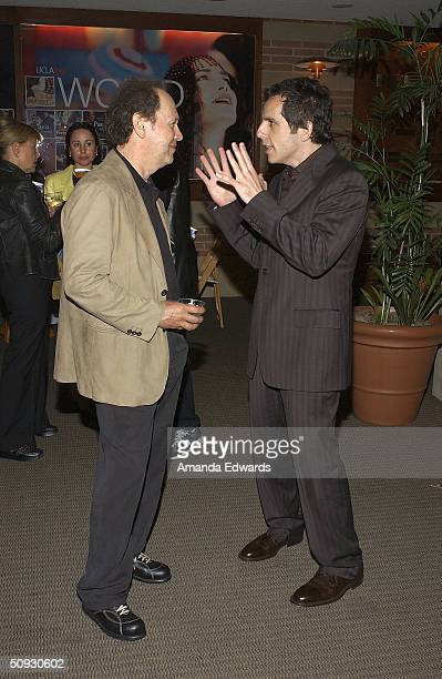 Actors Billy Crystal and Ben Stiller chat at the 15th Anniversary of the Los Angeles Chamber Orchestra's Silent Film Festival on June 5 2004 at...