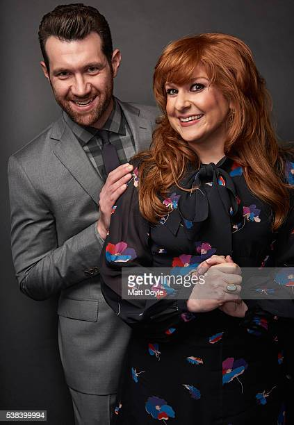 Actors Billy Eichner and Julie Klausner are photographed at the Hulu UpFront for TV Guide Magazine on May 4 2016 in New York City