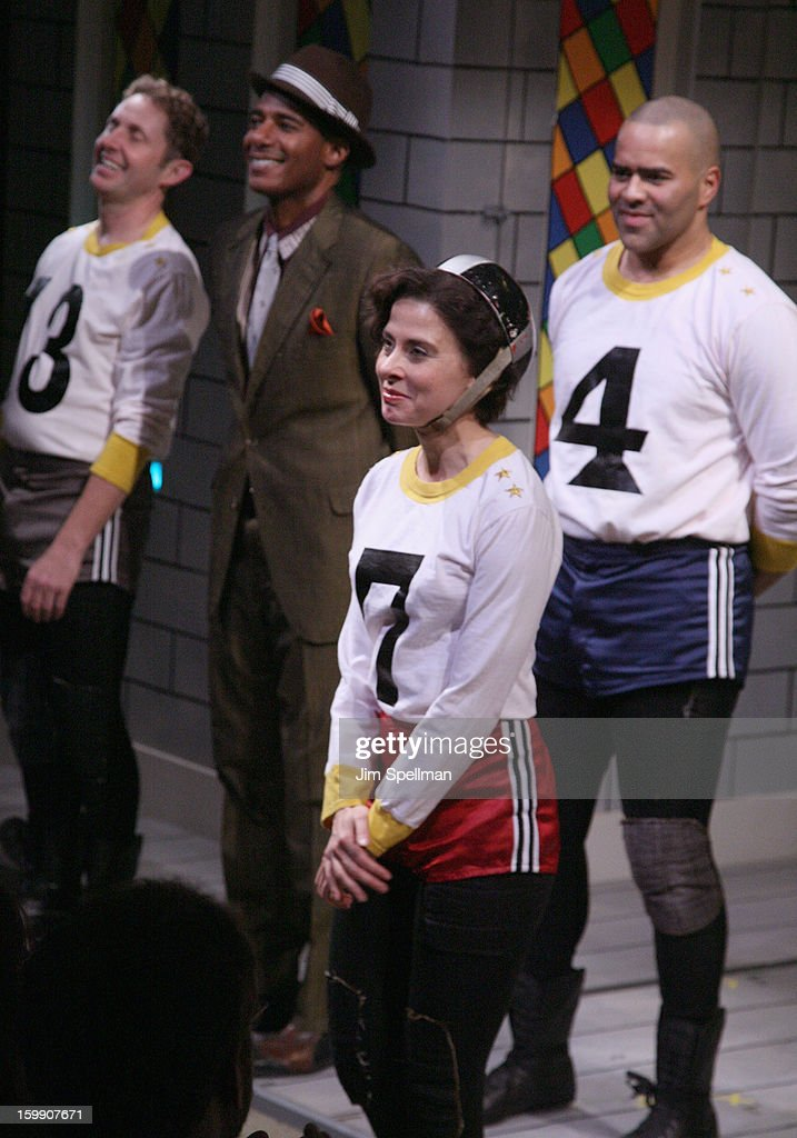 Actors Billy Eugene Jones, Jeanine Serralles and Christopher Jackson attend the 'The Jammer' Opening Night at Atlantic Stage 2 on January 22, 2013 in New York City.