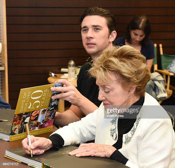 Actors Billy Flynn and Peggy McCay attend the Days of Our Lives book signing at Barnes and Noble at The Grove on October 25 2015 in Los Angeles...