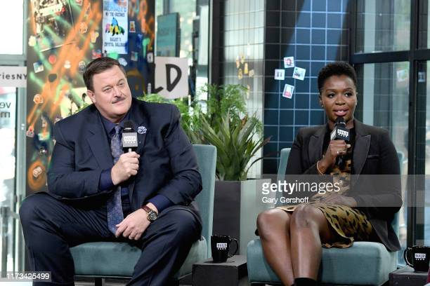 """Actors Billy Gardell and Folake Olowofoyeku visit the Build Series to discuss the CBS series """"Bob Hearts Abishola""""at Build Studio on September 09..."""