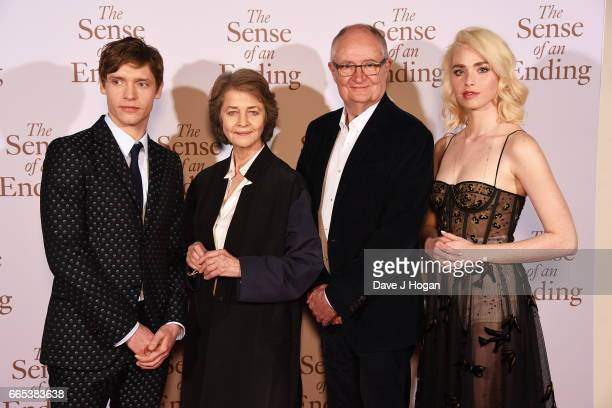 Actors Billy Howle Charlotte Rampling Jim Broadbent and Freya Mavor attend The Sense of an Ending UK gala screening on April 6 2017 in London United...