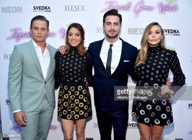 Actors Billy Magnussen and Aubrey Plaza director Matt Spicer and actor Elizabeth Olsen at the premiere of Neon's Ingrid Goes West at ArcLight...