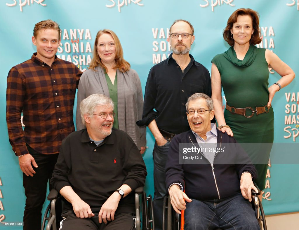 Actors Billy Magnussen, Kristine Nielsen, David Hyde Pierce, Sigourney Weaver pose behind playwright Christopher Durang (L) and Director Nicholas Martin at the 'Vanya And Sonia And Masha And Spike' Broadway Press Preview at The New 42nd Street Studios on February 28, 2013 in New York City.
