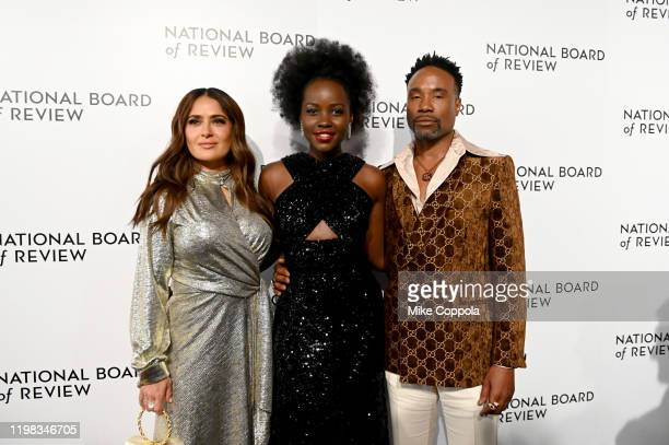Actors Billy Porter Selma Hyack Pinault and Lupita Nyong'o attend the 2020 National Board Of Review Gala on January 08 2020 in New York City