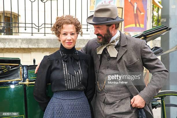 Actors Birgit Minichmayr as Bertha von Suttner and Sebastian Koch as Alfred Nobel pose during the 'Madame Nobel' set visit on May 26 2014 in Vienna...