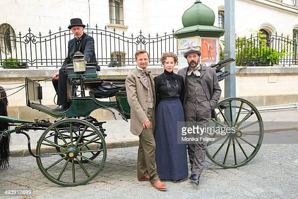 Actors Birgit Minichmayr as Bertha von Suttner Sebastian Koch as Alfred Nobel and Philipp Hochmair as Arthur von Suttner pose during the 'Madame...