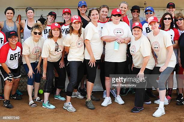 Actors Bitty Schram Patti Pelton Anne Ramsay Tracy Reiner Penny Marshal Megan Cavanagh and Ann Cusack attends A League Of Their Own Reunion Softball...