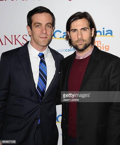 Actors BJ Novak and Jason Schwartzman attend the premiere of Saving Mr Banks at Walt Disney Studios on December 9 2013 in Burbank California