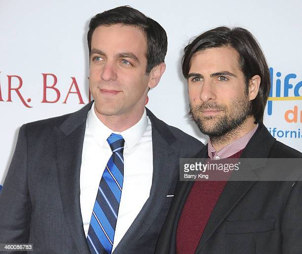 Actors BJ Novak and Jason Schwartzman attend the premiere of 'Saving Mr  Banks' on. '