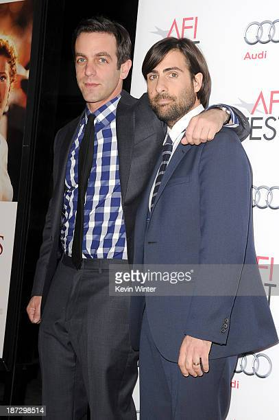 """Actors B.J. Novak and Jason Schwartzman attend the premiere of Walt Disney Pictures' """"Saving Mr. Banks"""" during AFI FEST 2013 presented by Audi at TCL..."""