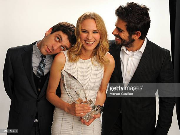 Actors B.J Novak, Diane Kruger and Eli Roth pose for a Favorite Independent Movie portrait during the People's Choice Awards 2010 held at Nokia...