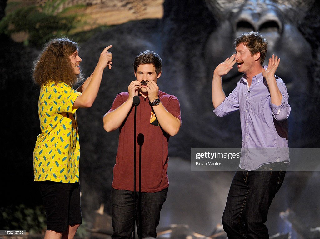 Actors Blake Anderson, Adam DeVine, and Anders Holm of Workaholics perform onstage during Spike TV's Guys Choice 2013 at Sony Pictures Studios on June 8, 2013 in Culver City, California.