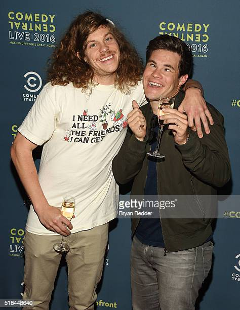 Actors Blake Anderson and Adam DeVine attend the Comedy Central Live 2016 upfront afterparty at Gotham Hall on March 31 2016 in New York City