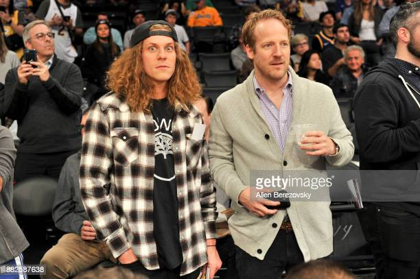 Actors Blake Anderson and David Sullivan attend a basketball game between the Los Angeles Lakers and the Golden State Warriors at Staples Center on...