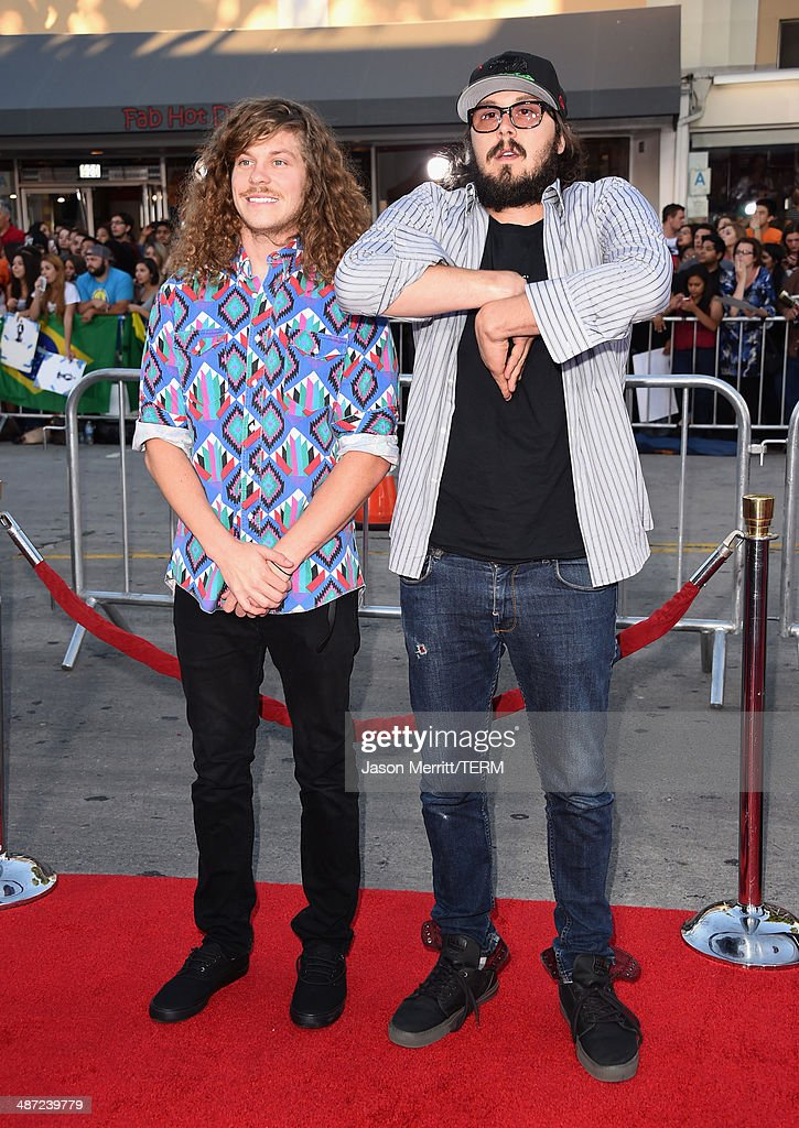 Actors Blake Anderson and Kyle Newacheck attend Universal Pictures' 'Neighbors' premiere at Regency Village Theatre on April 28, 2014 in Westwood, California.