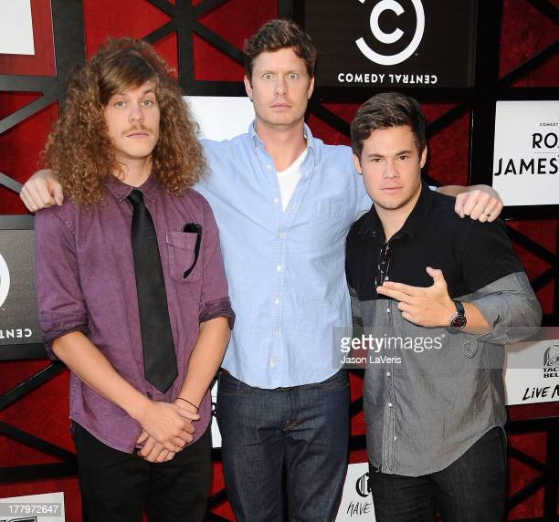 Actors Blake Anderson Anders Holm and Adam DeVine attend the Comedy Central Roast of James Franco at Culver Studios on August 25 2013 in Culver City...