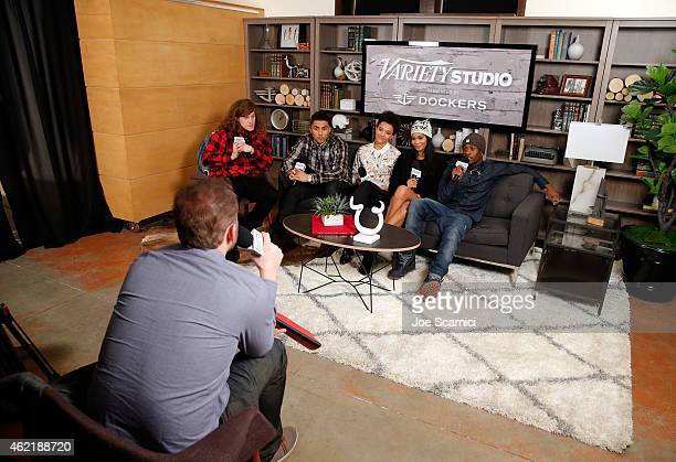 Actors Blake Anderson Quincy Brown Kiersey Clemons Chanel Iman and Shameik Moore attend The Variety Studio At Sundance Presented By Dockers on...