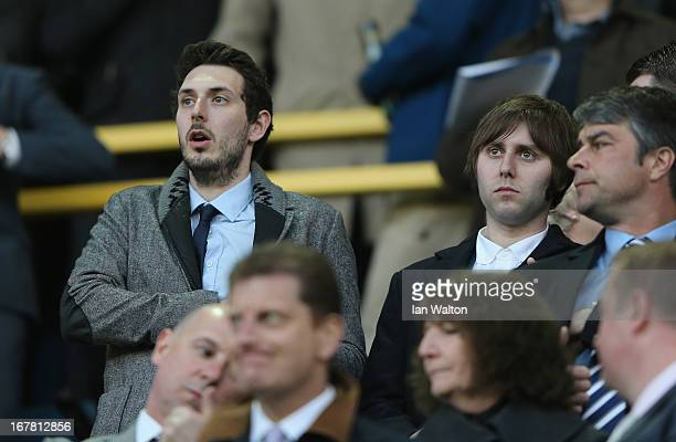 Actors Blake Harrison and James Buckley, from The Inbetweeners, attend the npower Championship match between Millwall and Crystal Palace at The New...