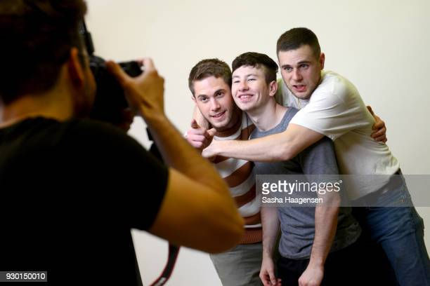 Actors Blake Jenner Barry Keoghan and Jared Abrahamson from the film 'American Animals' pose for a portrait at the Pizza Hut Lounge at the 2018 SXSW...