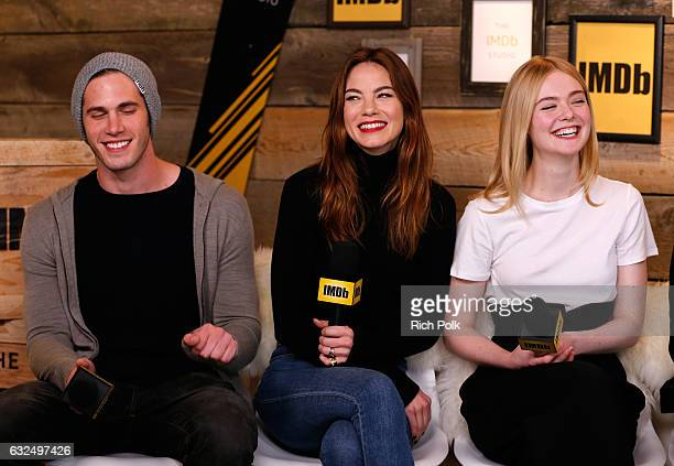 Actors Blake Jenner Michelle Monaghan and Elle Fanning of 'Sidney Hall' attend The IMDb Studio featuring the Filmmaker Discovery Lounge presented by...